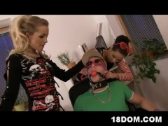 Two bossy and strict office bitches himiliate and fuck