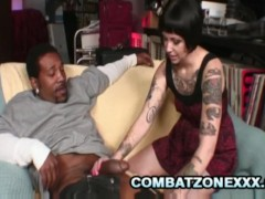 Daisy Sparks - Tattooed Covered Brunette Bitch Handling A Fat Black Cock