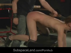 Sexy submissive blonde hard whipped and doggie fucked in a dark loft