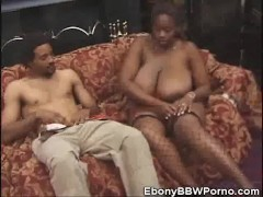 Ebony BBW Babe Cock Sucking On The Couch