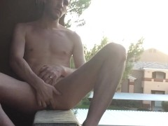 almost caught jacking in public on my balcony