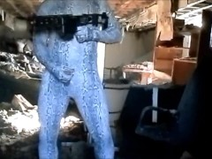 Horny snake commando walks through building looking for his enemy