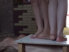 Two pairs sexy legs and cock balls trample crush massacre under them