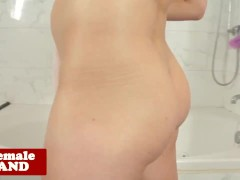 Smalltitted tgirl masturbating in bathroom