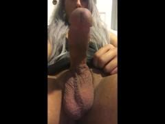 Asian Trap Jerks her sissy clit