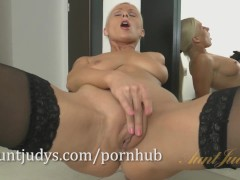 Blonde MILF Vanessa Hell teases you in her stockings