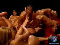 Hot chicks soaked in oil waiting for Rocco Siffredi to fuck them