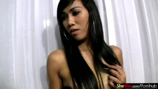 Perfect ladyboy strips down and reveals her girlish figure
