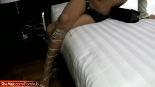 Rafe gets his huge cock sucked by sexy redhead Thai ladyboy