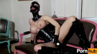 british dominatrix femdom big-tits latex fetish kink boots corset mask big-boobs masturbate fingering gloves big-ass milf