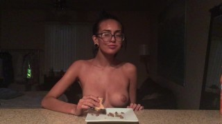 eating food topless natural-tits janice-griffith meokbang mukbang