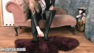 kink babe blonde british big-boobs leather leather-fetish lingerie boots pants tease tits nylon stockings putting-on-leather fetish