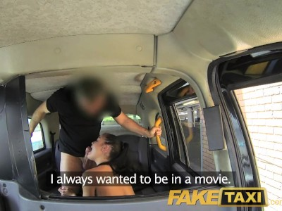 FakeTaxi Creampie for hot Hungarian brunette in London taxi