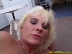 Crazy old blonde mom gets big cock fucked and cumshot