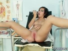 Teen nurse Nina kinky pussy stretching on gynochair