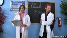 Busty brunette chem student Kiera King fucks her lab partner