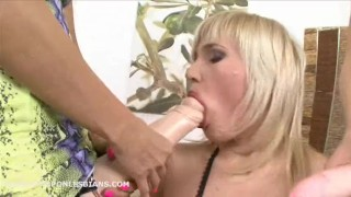 Iva has her asshole double penetrated by two friends with huge strapons