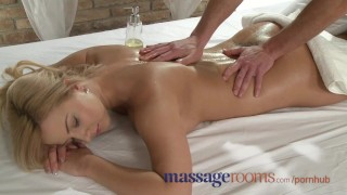 Massage Rooms Busty girl is sensually oiled and penetrated deep for orgasm