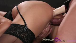 Strapon Babe in black stocking and suspenders gets DP from strapon cock sex-toy sensual ass-fuck blonde blowjob dp strapon oral-sex adult-toys small-tits double-penetration czech ass-fucking