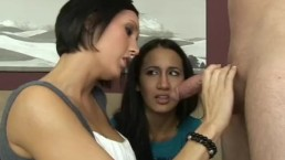 Busty Milf Dylan teaches innocent teen Amia how to suck and fuck