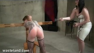 Preview 2 of Wasteland FemDom Straps submissive Leilah To Rack, Flogs and makes her Cum