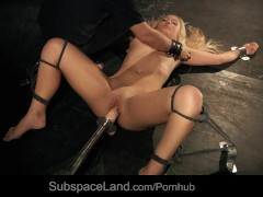 Huge fuck machine drills bound Lianna till explosive orgasm