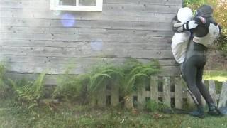 armoured frogman surprises victim outdoors