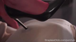 Rossy Bush Goes Wild With a Strapon redhead lesbian-face-sitting pantyhose kink strapon straplessdildo garter-belt pantyhose-encasement adult-toys realdoe shiny-pantyhose stockings girl-on-girl high-heels red-stocking