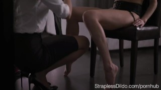 How to Dress up Aurelika for Strapon Sex femdom office-lady feeldoe pussy-eating pantyhose kink strapon foot-licking straplessdildo garter-belt foot-fetish adult-toys cunnilingus realdoe stockings girl-on-girl high-heels