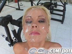 Cum For Cover Mariana's four dick melee ends in messy face
