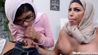 Mia Khalifa stepmom Juliana Vega fucks and sucks her boyfriends cock  big-cock big-tits arabic hijab big-ass mom blowjob milf reverse-cowgirl religious 3some muslim babes mother threesome step-mom