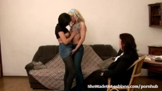 Preview 4 of Old teacher helps her teen students to receive the first lesbian orgasm