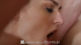 HD - Passion HD Two girls tag team and slobber guys juicy dick