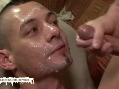 Eager bukkake boy loves getting his face covered with cum