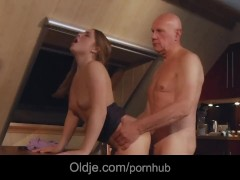 Bald old man fucking doggie his horny youthful babe