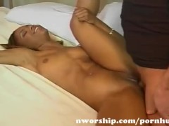 hot black girl fucked by a big white cock in her pussy