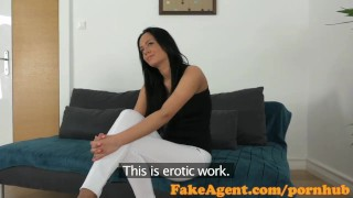 FakeAgent Horny babe with amazing body fucked hard in office  homemade oral-sex big-tits shaved-pussy point-of-view audition office-sex blowjob cumshot pov couch real office reality fakeagent interview