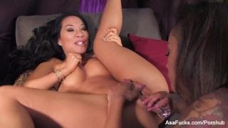Asa Akira And Skin Diamond Fuck Each Others Brains Out  oral ebony black asian pornstar asaakira tattoo skinny piercing japanese lesbian pussy girl-on-girl