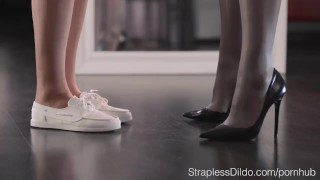 Maria Pie with Two Strapons college-girl nylons pantyhose kink strapon strapless-dildo straplessdildo sex-toys hairy-pussy adult-toys face-dildo stockings girl-on-girl facesitting high-heels