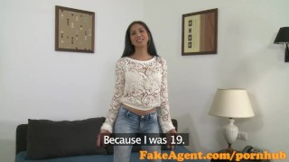 FakeAgent Horny Spanish babe gets Jizz on her pussy in Casting  homemade oral-sex point-of-view audition office-sex amateur blowjob cumshot pov casting couch real office reality fakeagent interview