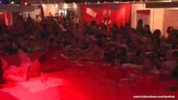 Nude slut has fun on the stage