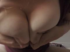 HD Milf caught flicking&licking huge milky tits wet shirt naughty lactation