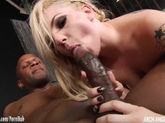 Petite blonde rammed in the ass by big black cock