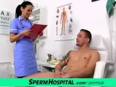 Doctor patient handjob featuring skinny milf Nora