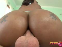 Pervcity ebony babe rides a huge cock