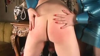 Fucking Size Queen - Femdom Pegging redhead female-domination strap-on pegging femdom spanking caning kink blonde latex voyeur fake-tits julie-simone fetish femdom-sex