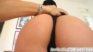 Preview 2 of Ass Traffic Cassey's got booty for these two to plunder