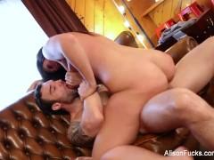 Brunette hottie Alison gets cum all over her huge tits