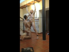 Daddy Tied Up and Whipped before Pool Table Bareback Fuck by Son