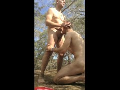 Older Younger Daddy and Son Suck and Wank in the Woods - huge cumshot!!